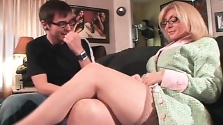 Hawt blond MILF with large love melons tempted