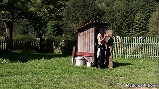 Grandad pleases his son&#039_s cheating gf outdoors