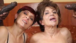 Grannies Hardcore Drilled Interracial Porn with Mature Sweethearts loving Ebony Ramrods