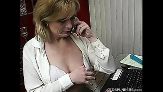 Super hawt aged playgirl talks obscene on the phone whilst mastubating
