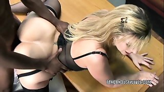 Aged bitch Sara Jay is in her office and getting screwed