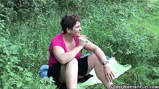 The great outdoors wets grandma&#039_s appetite for knob and cum