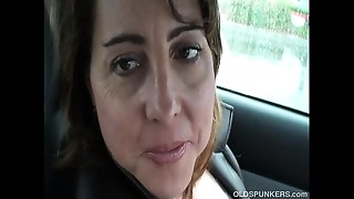 Hawt Cougar is so sexually excited this babe plays with her wet crack in public