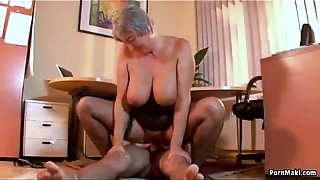 Bigtitted grandmother craves juvenile penis