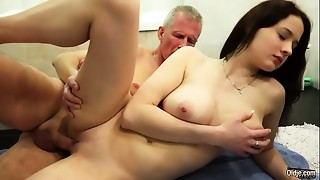My step sister with large bra buddies copulates grand daddy gives him titjob and tugjob