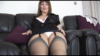 Older big breasted secretary talks messy